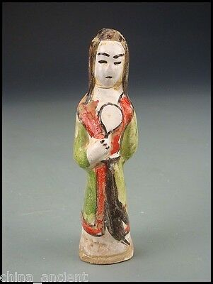 Ancient Chinese Ming Dynasty Colour Pottery Attendant Figure