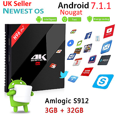 H96 Pro Plus 3GB+32GB Android 7.1.1 TV Box Amlogic S912 Octa Core 4K Best Addons