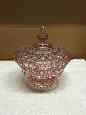 Vintage Pink Glass Fancy Design Footed Candy Dish With Lid