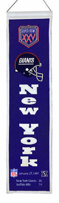 """New York Giants Super Bowl XXV (25) 32"""" Embroidered Wool Heritage Banner NFL"""