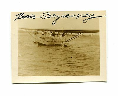 Autograph on Photo BORIS SERGIEVSKY early Test Pilot Airboats aviation Sikorsky