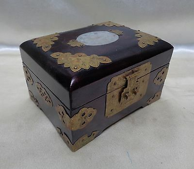 Antique Wooden Chinese Box w. Ornate Gold Finish Metal Fittings & Pink Interior