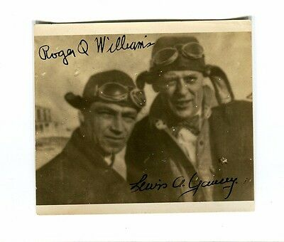 Autograph on Photo ROGER Q WILLIAMS & LEWIS YANCEY early aviation pilots 1929?