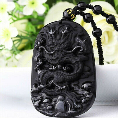 Natural Black Obsidian Hand Carved Dragon Lucky Blessing Beads Pendant Necklace