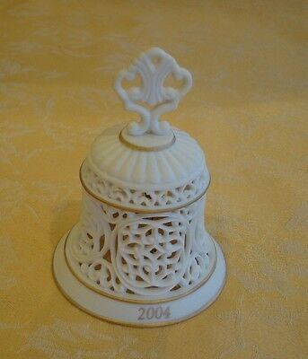 WEDGWOOD 2004 Pierced Bell Ornament Eggshell Bisque Porcelain Gold Accented