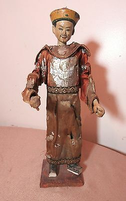 antique handmade silk wood pottery Chinese Emperor doll marionette figure statue