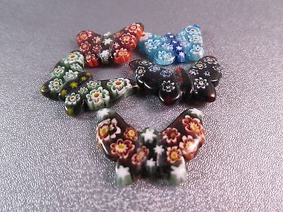 Millefiori Murano Glass Half Drilled Butterfly Pendant Beads 5pcs