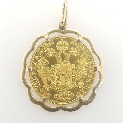 Preloved 1915 AUSTRIAN DUCAT Coin in 9ct Yellow Gold PENDANT FRAME