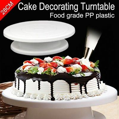 """11"""" Rotating Revolving Cake Plate Decorating Turntable Kitchen Display Stand CN"""