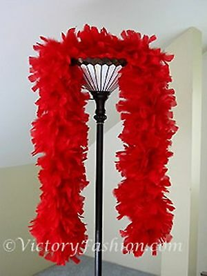 Large Ruff Feather Boa - RED - Outstanding Show Biz Quality