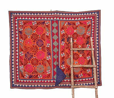 Asian Art Embroidered Vintage Tribal Asian art Appliques Sewing Craft Cloth