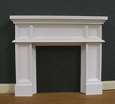 FIREPLACE ~  Panel  ~   JIM COATES  ~ Dollhouse ~ White ~ 1:12 scale ~ Room Box