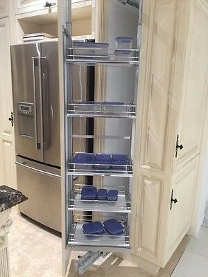 NEW IN BOX -HSA Rotary Pull Out Pantry Unit - 300mm Grey/ Chrome