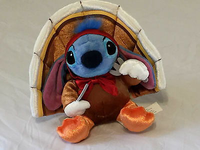 RARE DISNEY STITCH TURKEY stuffed THANKSGIVING holiday knife fork bow TAIL