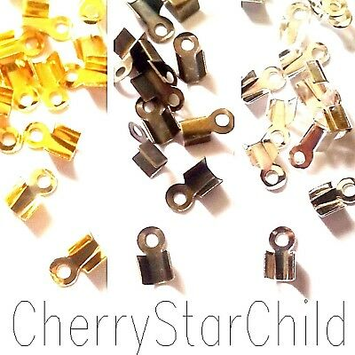 40+ cord crimp ends silver gold bronze for leather etc findings 6x9mm LARGE