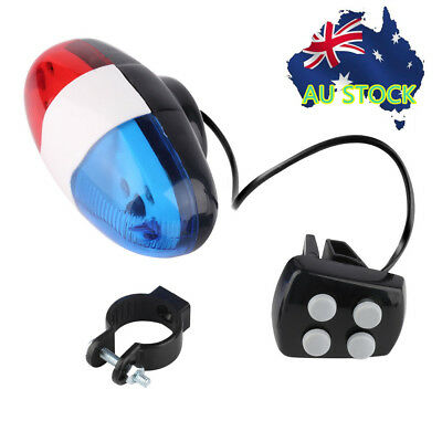 Bike Bicycle Cycling 4 Sounds LED Police Car Siren Electric Light Horn Bell XH
