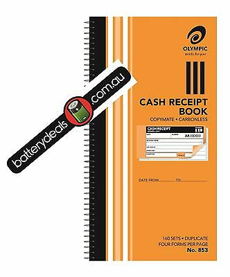 Olympic CASH RECEIPT BOOK Carbonless 160 sets 276x144mm No.853 182293 duplicate
