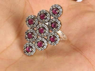 Turkish Ottoman Handmade Ruby Topaz Sterling Silver Ring Size 8 R-1174+Free Gift