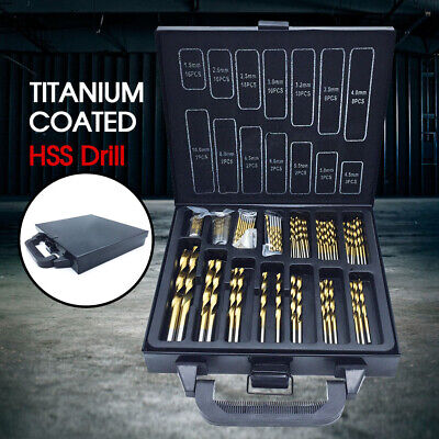 99PCS HSS Metric 1.5-10mm Titanium Coated Drill Bit Set Metal Wood Plastic New