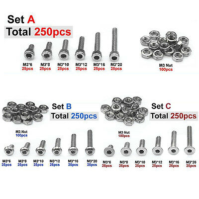 250pcs M3(3mm) A2 Stainless Steel Allen Bolts With Hex Nuts Screws Assortments