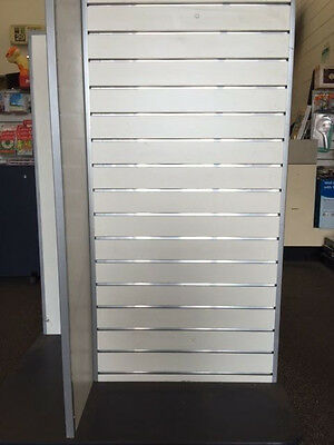 Slatwall Gondola 4 Way Shop Display Stand with Slat Panels and wheels