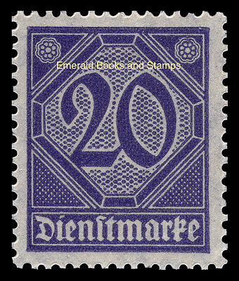 EBS Germany 1920 Official 20 Pfennig Michel Dienst 26 MNH**
