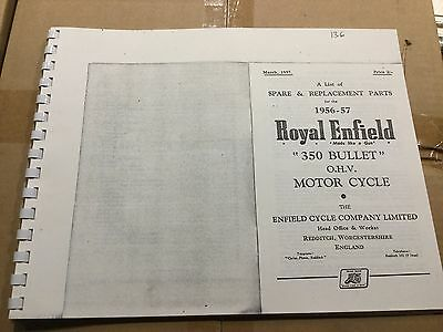 Royal Enfield 1956-57 350 Bullet Parts List .136 (3-54)