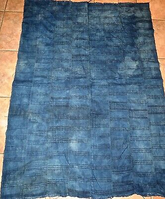 """Vintage African,Dogon, Mali Indigo Dyed Fabric/Hand Woven Cotton Strips/40""""x57"""""""