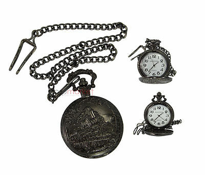 Handmade Vintage Black Train Designed Pocket Watch with long chain by Dorpmarket