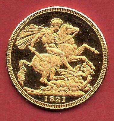 1821 Proof Sovereign Of George Iv (Real Gold But Modern & Not A Genuine Coin)