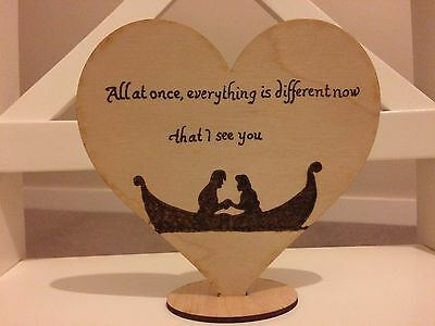 Rustic Wedding Cake Topper, Tangled, pyrography, handmade, disney