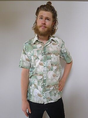 Vintage retro true 80s S green art shirt mens very good Hosma
