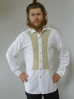 Vintage retro true 90s white cotton dress shirt tux mens Paul Macfarlane UK