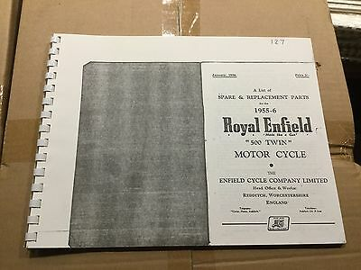Royal Enfield 1955-56 500 Twin Parts List 127 (3-54)