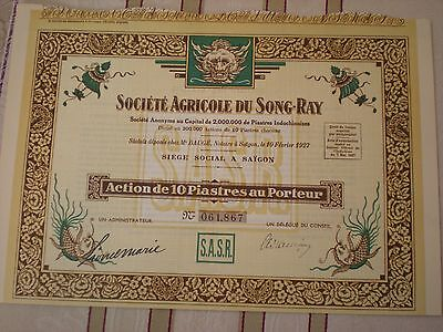 Indochina -  Agricole du Song Ray   10  Piatres 1927   7/24