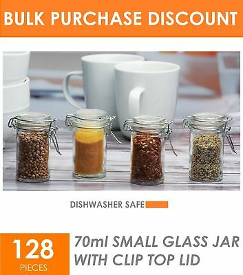 128 x 70ml Small Glass Jar with Lid - Spice Herbs Jam Kitchen Glass Storage Jars