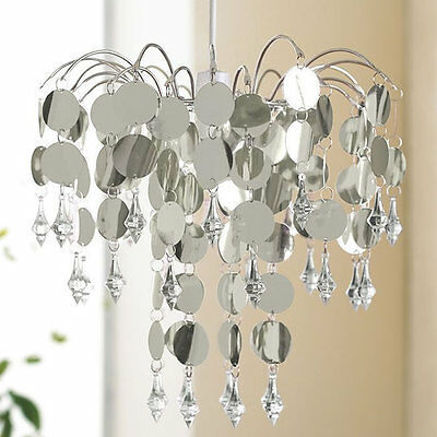 Silver and Crystal Chandelier Light, Living Room / Bedroom Ceiling Shade