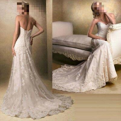 2018 New White/Ivory Lace Wedding Dress Bridal Gown Stock Size 6 8 10 12 14 16
