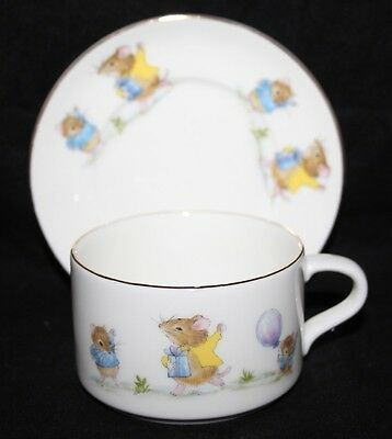 Mary Jane Fine Bone China - Child's Cup and Saucer - Mouse Design
