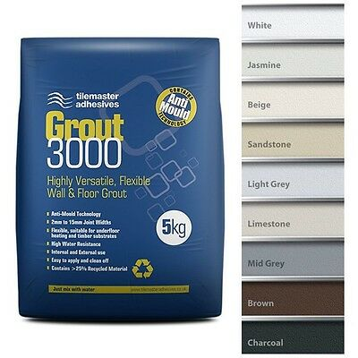 Tilemaster Grout 3000 5Kg Flexible Wall And Floor Grout - Various Colours