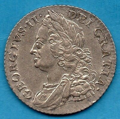 1758 King George Ii Silver Shilling Coin.   1/-    Lovely Condition.