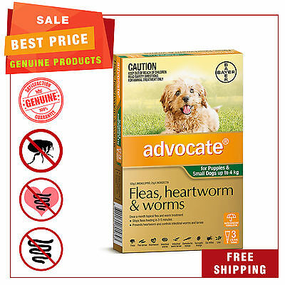 ADVOCATE for Dogs Flea Heartworm Worm treatment Upto 4 Kg Green Pack 3 Pipettes