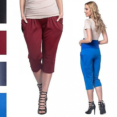 Happy Mama. Women's Maternity Silky Crop Trousers Elastic Belly Band Pants. 607p