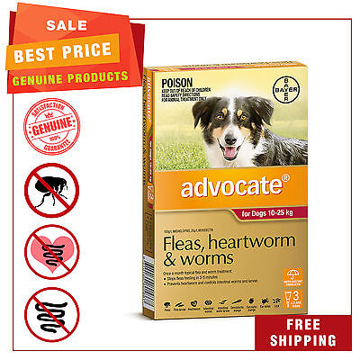 ADVOCATE for Dogs Flea Heartworm Worm treatment 10 to 25 Kg Red Pack 3 Pipettes