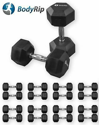 BodyRip Hexagonal Dumbbells Pair Weight Set 5-30kg Gym Exercise Rubber Encased