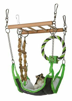 Hamster Mouse Suspension Bridge Ladder With Hammock, Rope Toy Chew Ring 6298