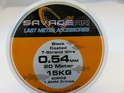 SAVAGE GEAR 15 kg  BLACK COATED  4 PIKE DEAD BAIT TRACE WIRE 20 M & 20 CRIMPS
