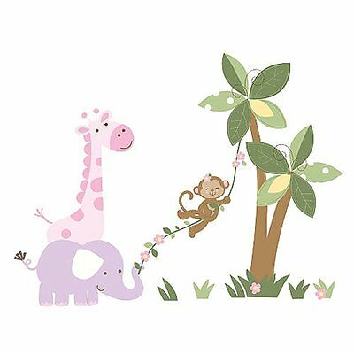 Babies R Us Kids Line Girls Monkey Wall Decals, Safari Jungle Elephant Giraffe