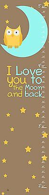 Green Leaf Art I Love You to The Moon Growth Chart