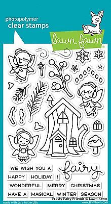 LAWN FAWN CLEAR STAMP SET - FROSTY FAIRY FRIENDS LF1224 christmas tree house